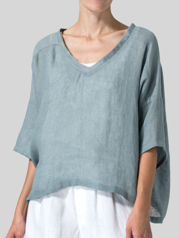 Casual Plain Cotton V Neck Shirts & Tops