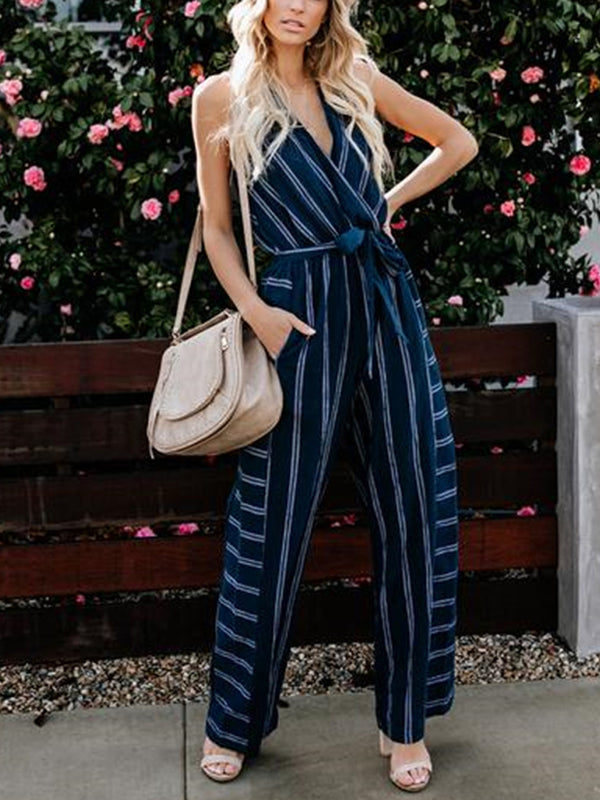 Dark Blue Striped Sleeveless V Neck Jumpsuits