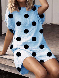 Polka Dots Short Sleeve Dresses