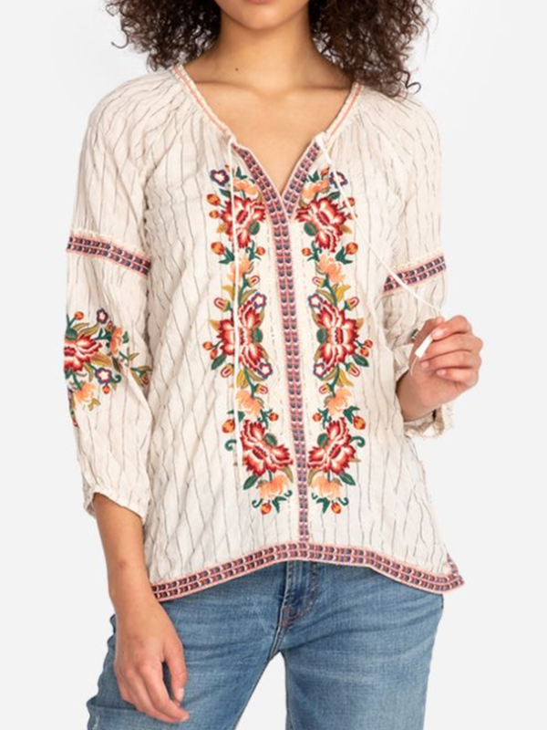 3/4 Sleeve Floral-Print Casual Shirts & Tops