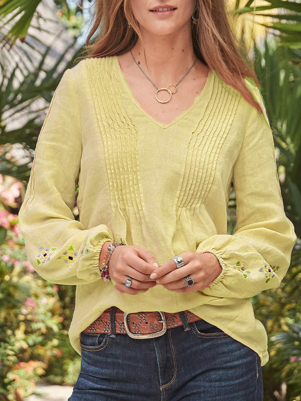 Long Sleeve Cotton-Blend Solid Shirts & Tops