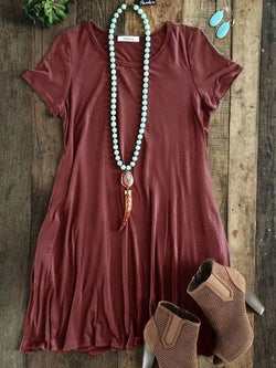 Short Sleeve Casual Cotton-Blend Crew Neck Dresses