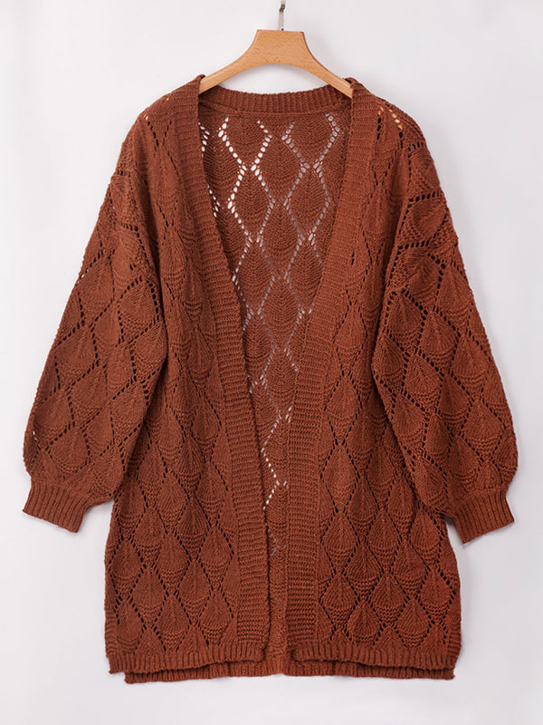 Crocheted Long Sleeve Knitted Cardigan Outerwear
