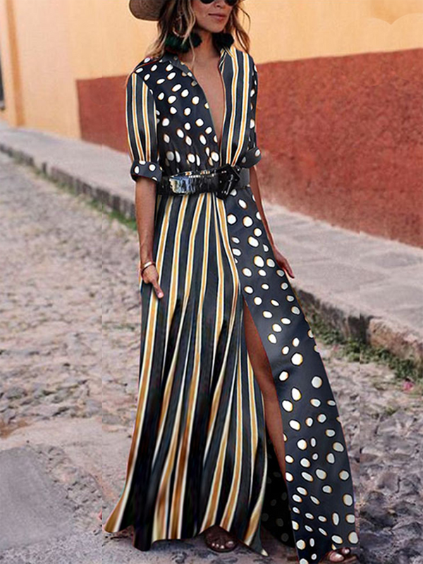 Black Striped Polka Dots Elegant Midi Dress