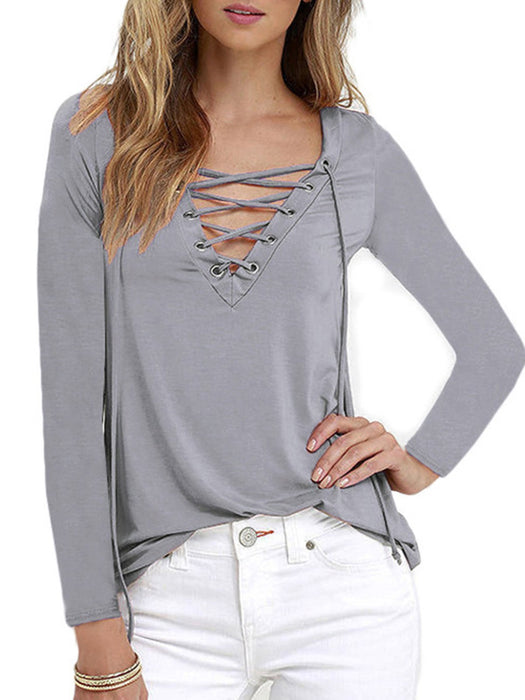 Casual Cotton-blend Lace Up V Neck Blouse