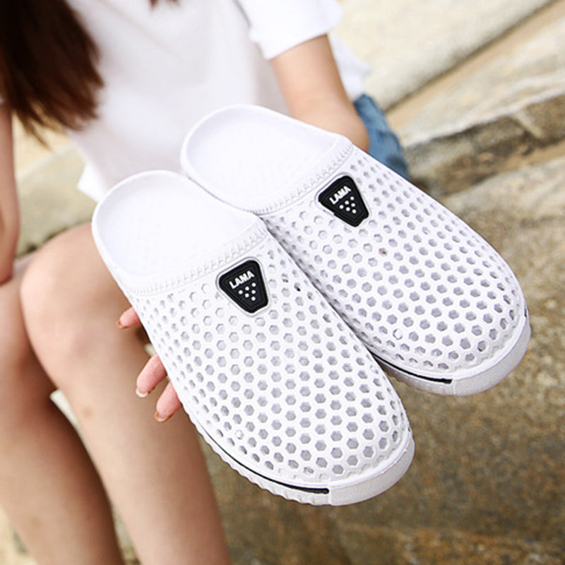 Breathable Hollow Out Round Toe Flat Casual Beach Slippers