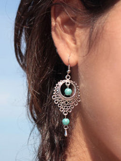 Vintage Cutout Turquoise Drop Earrings