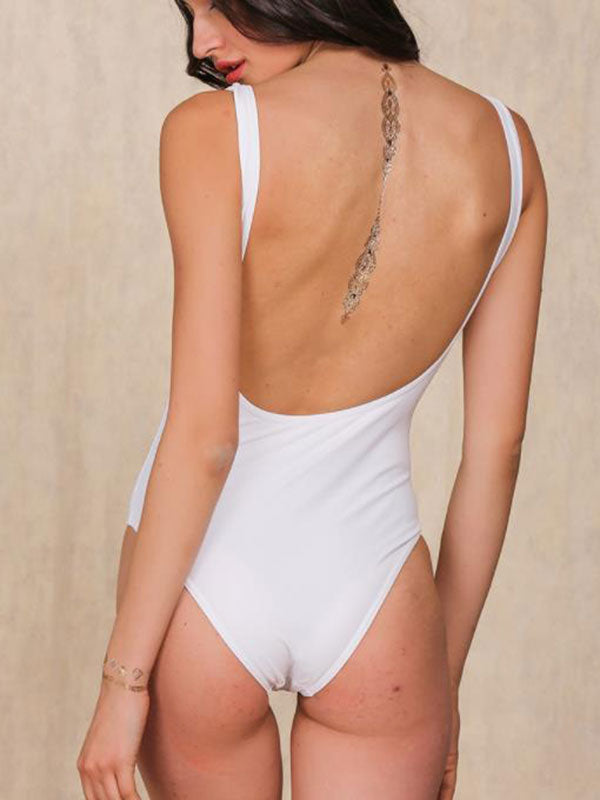 Beach strap sexy banded one-piece swimsuit