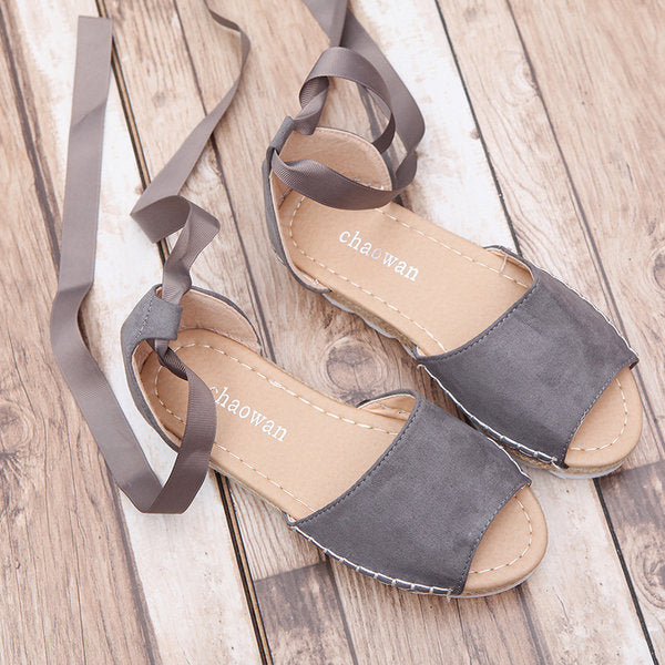 Solid Color Lace-Up Heel Covering Sandals