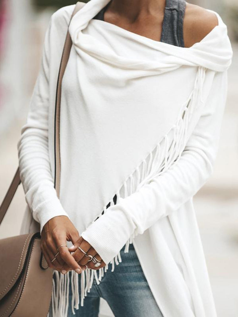 Casual Fringed Long Sleeve Asymmetrical T-Shirt