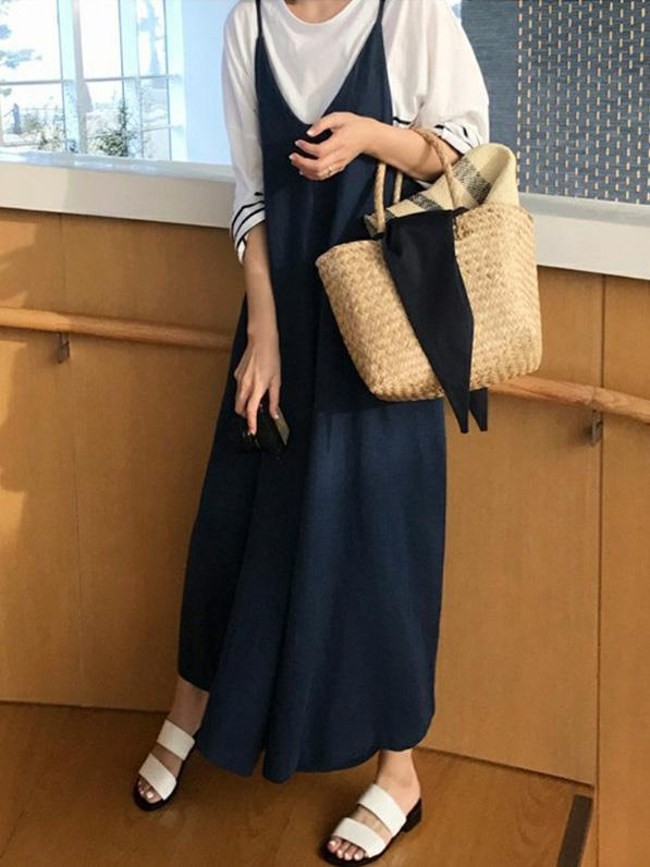 LOOSE PURE COLOR SIMPLE JUMPSUIT PANTS