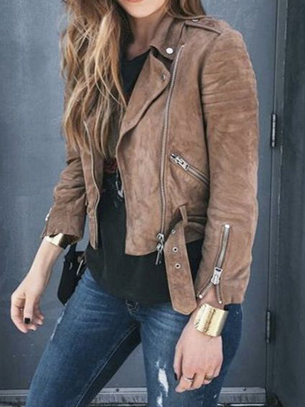 Brown Long Sleeve Suede Lapel Outerwear