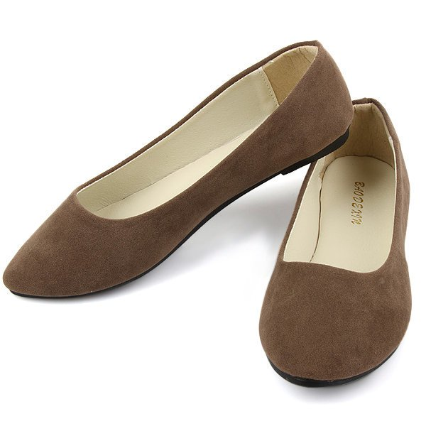 Big Size Suede Candy Color Pure Color Pointed Toe Light Slip On Flat Shoes
