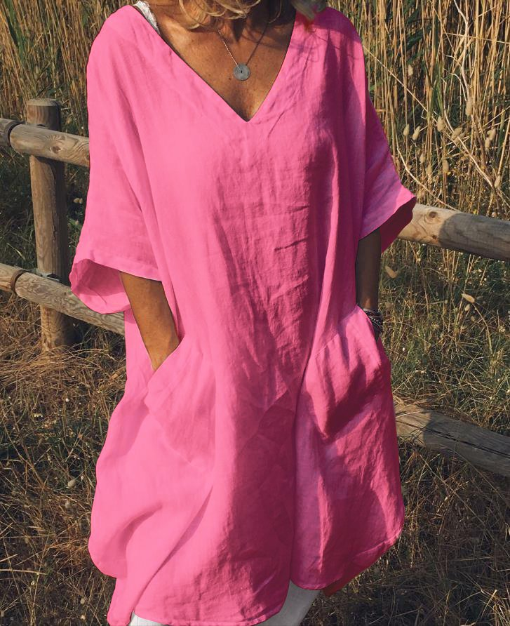 Plus Size Causal Summer Dress V Neck Solid Cotton Half Sleeve Pockets Dresses