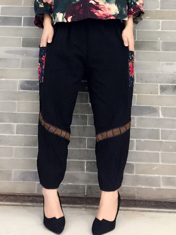 Casual Cotton and Linen Patch Harem Pants With Pockets