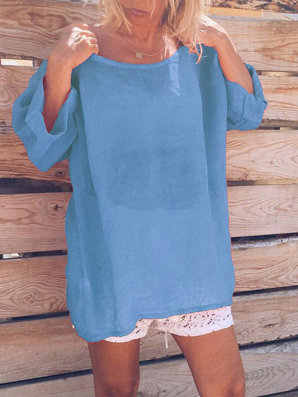 Round Neck Sweet Shirts & Tops