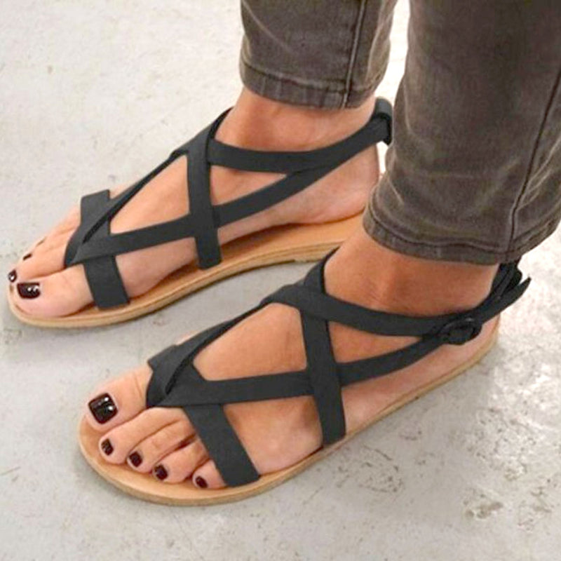 Plus Size Flip-flops Buckle Flocking Sandals