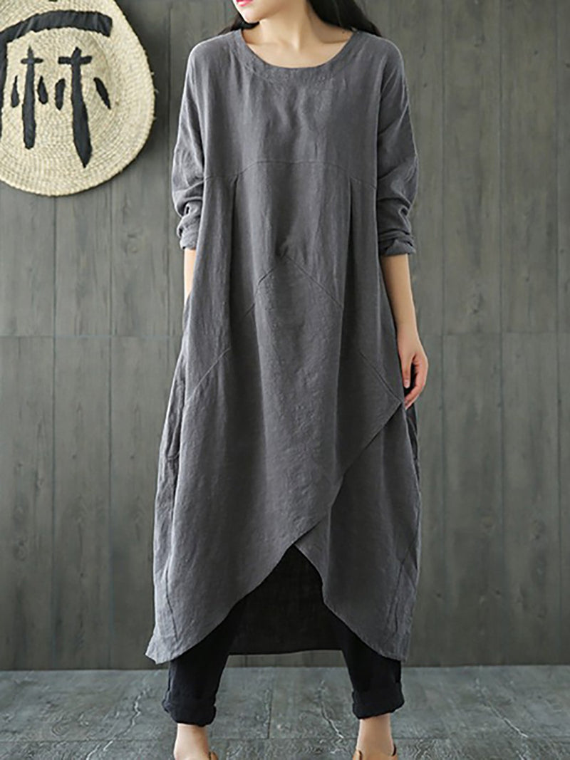 Black Solid Casual Crew Neck Cotton Casual Dress