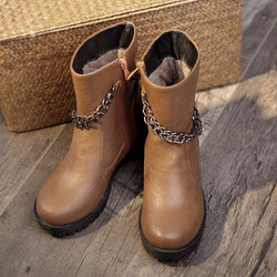 Gray PU Zipper Chain Daily Chunky Heel Spring/Fall Boots