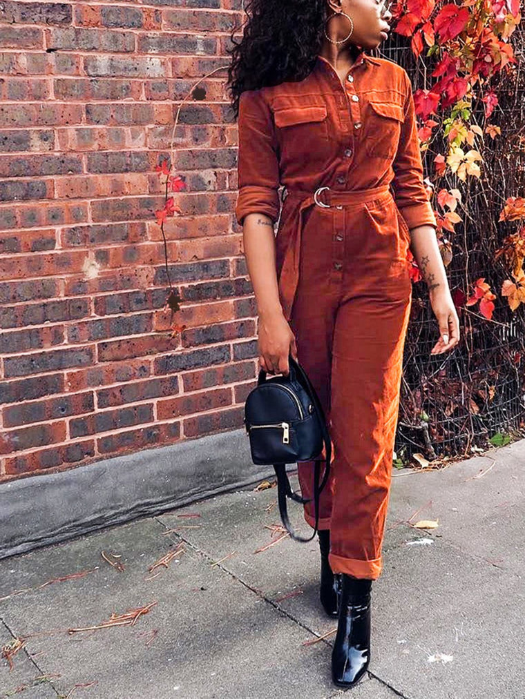 Plain Corduroy Buttoned Pockets Casual Lady's Boyfriend Jumpsuits