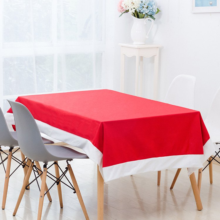 Red Christmas Tablecloth Snowflake Chair Cover Dinner Party Decoration