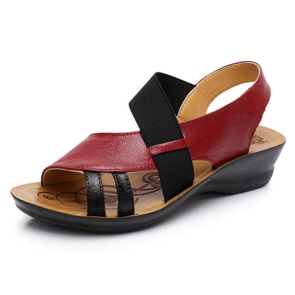 Breathable Hollow Out Elastic Band Leather Flat Sandals