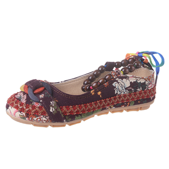 Plus Size Colorful Embroidery Flat Heel Casual Canvas Flats
