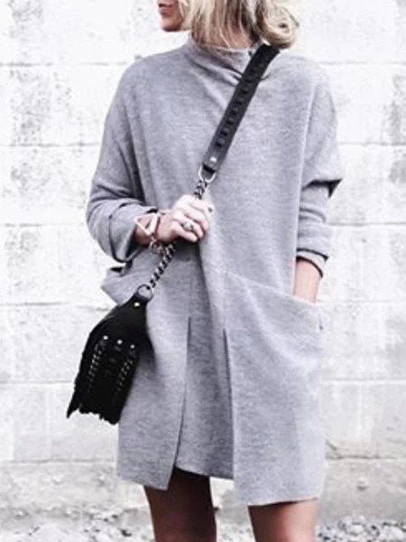 Gray Plain Cotton Casual Turtleneck Dresses