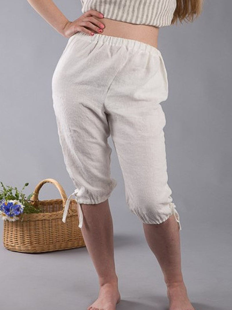 White Cotton-Blend Pockets Pants