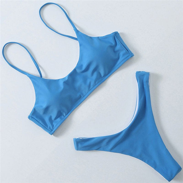Noracora Simple Solid Color Low-waist Bikini Set Swimsuit