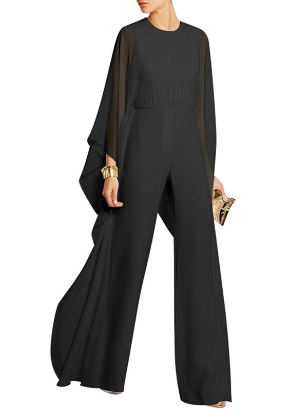 Women Chiffon Overlay Hollow Out Wide-Leg Jumpsuit
