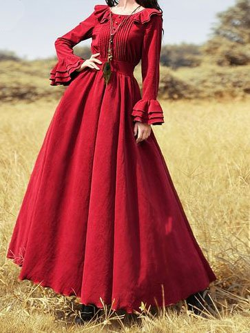 Plain Vintage Ruffled Long Sleeve Dresses