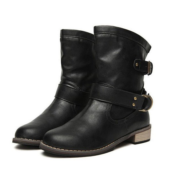 Buckle Mid Calf Slip On Flat Casual Boots Artificial Leather Booties