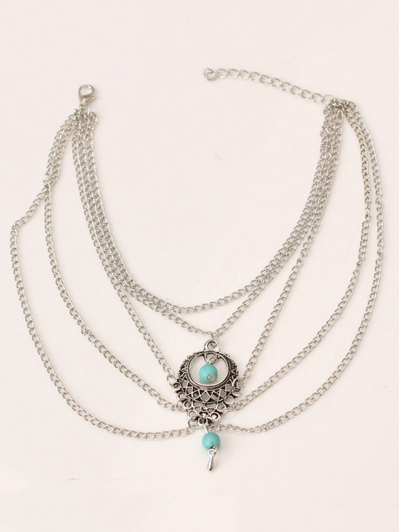 Cutout Turquoise Stone Water Drop Anklets
