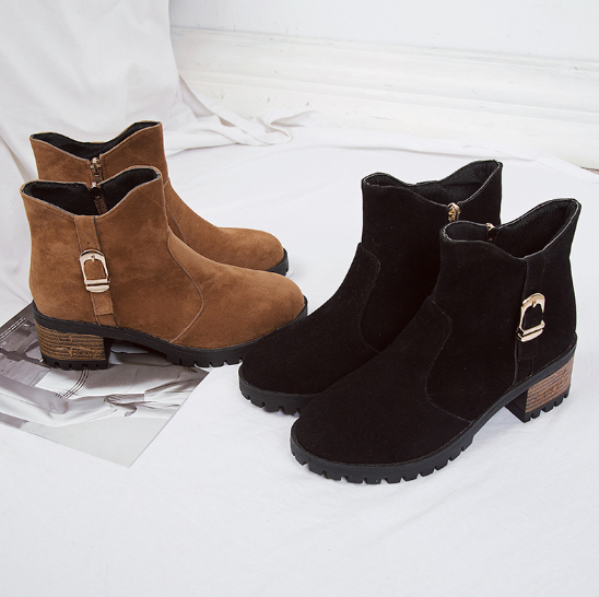 Brown Zipper Business Chunky Heel Suede Boots