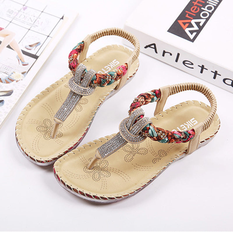 Rhinestone Clip-toe Flat Slip On Sandals
