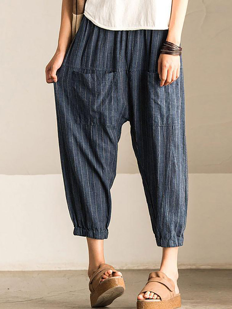 Pockets Casual Cotton Striped Pants