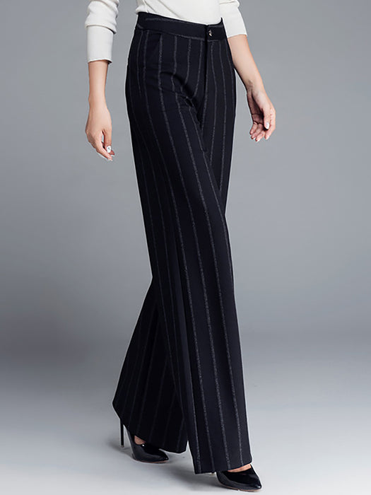 Women Paneled Shift Stripes Work Wide Leg Pants