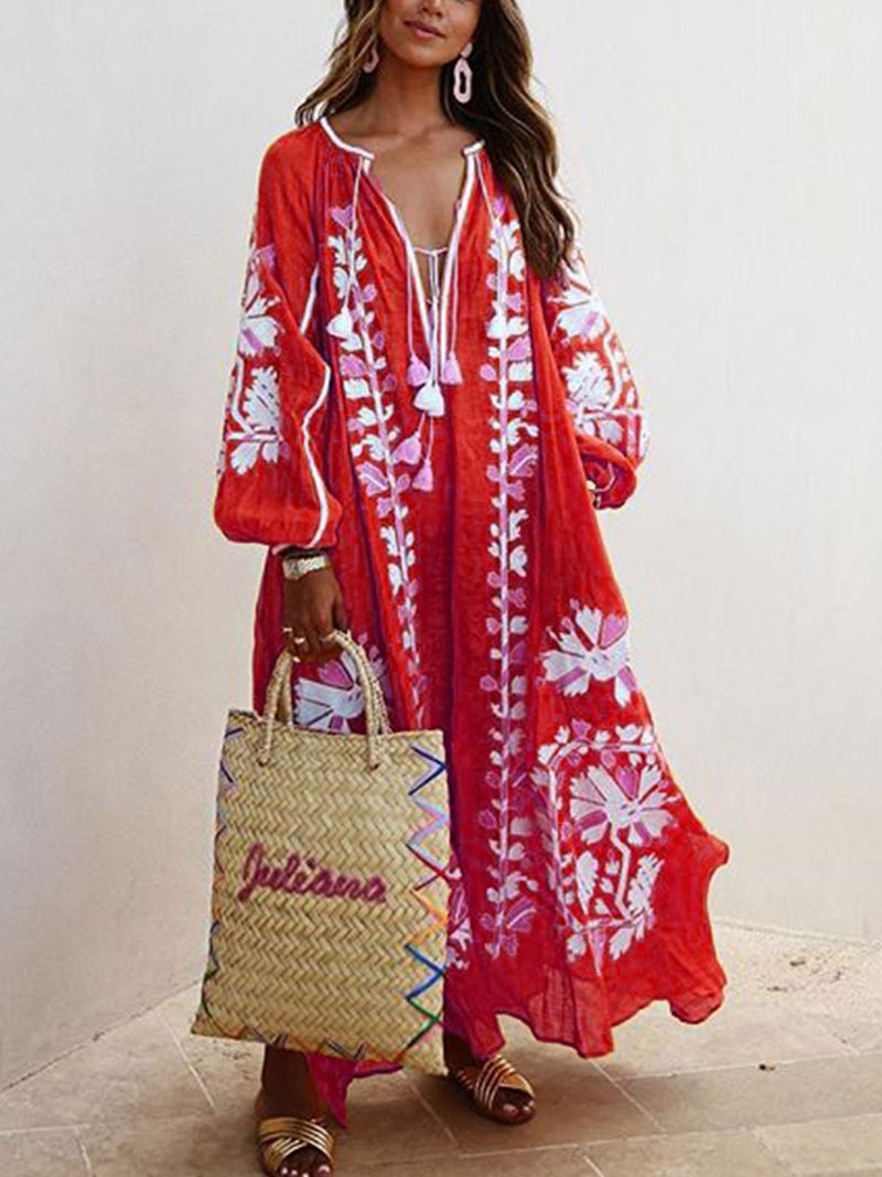 Women Printed Boho Casual Dress V Neck Holiday Maxi Dresses