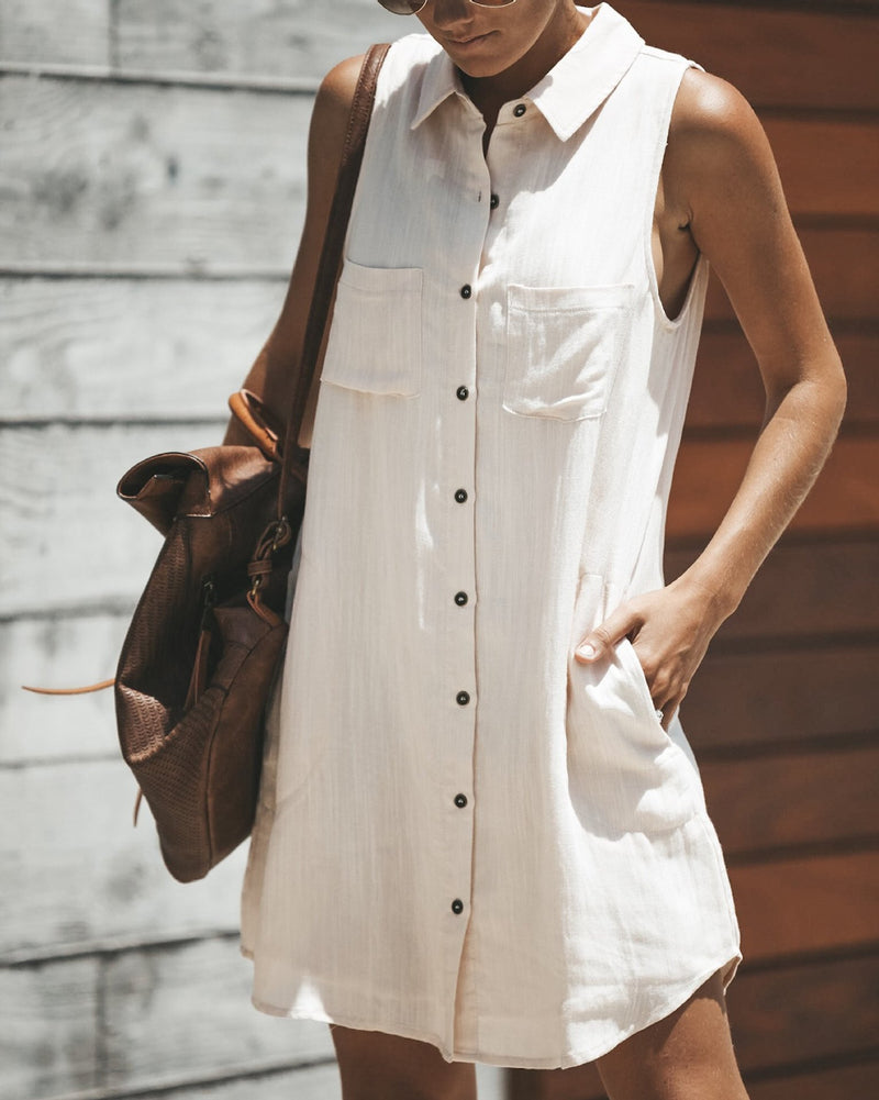 Red Pockets Casual Summer Dress
