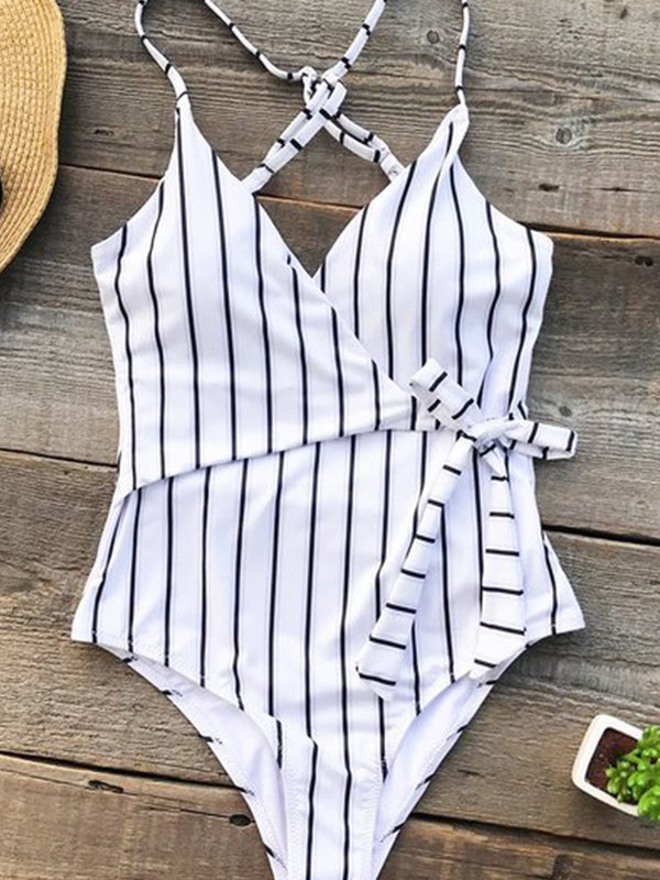 Nooncat Black and White Stripe One-piece Swimsuit