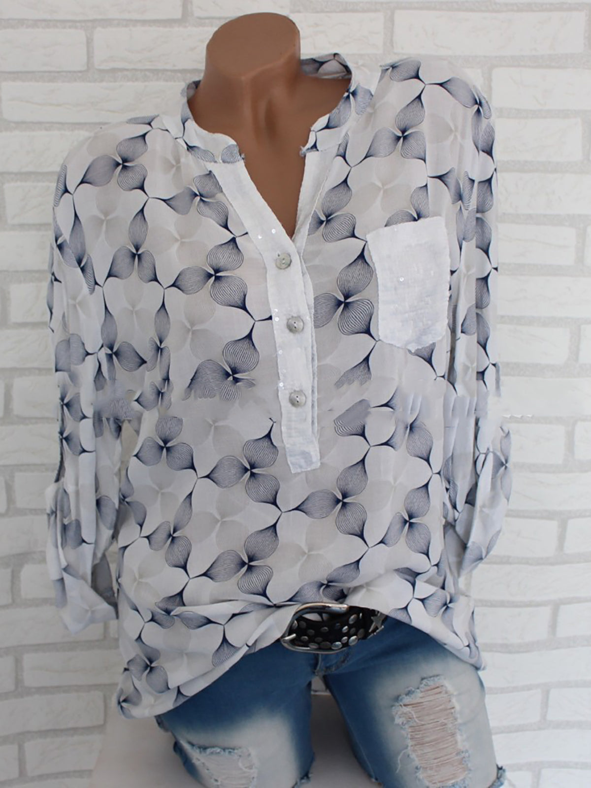 Abstract Elegant Chiffon Stand Collar Blouses