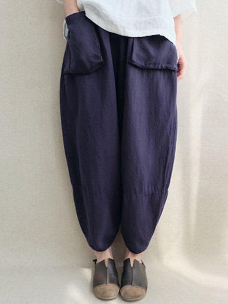 Casual Linen Pockets Plus Size Pants