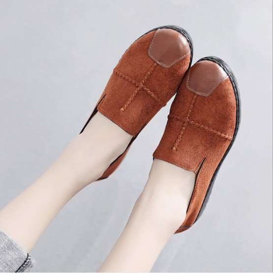 Yellow Brown Daily Flat Heel Nubuck Loafers