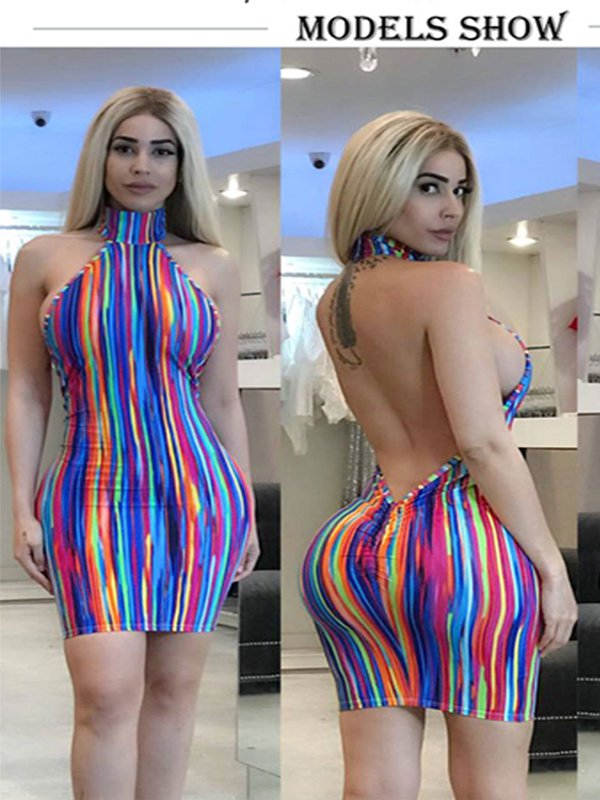 Rainbow Multicolor Stripes Crew Neck Beach Holiday Dress
