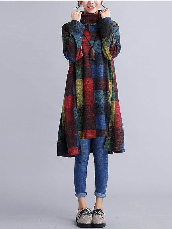 Autumn Winter Casual Plaid Turtleneck Long Sleeve Sweatshirt