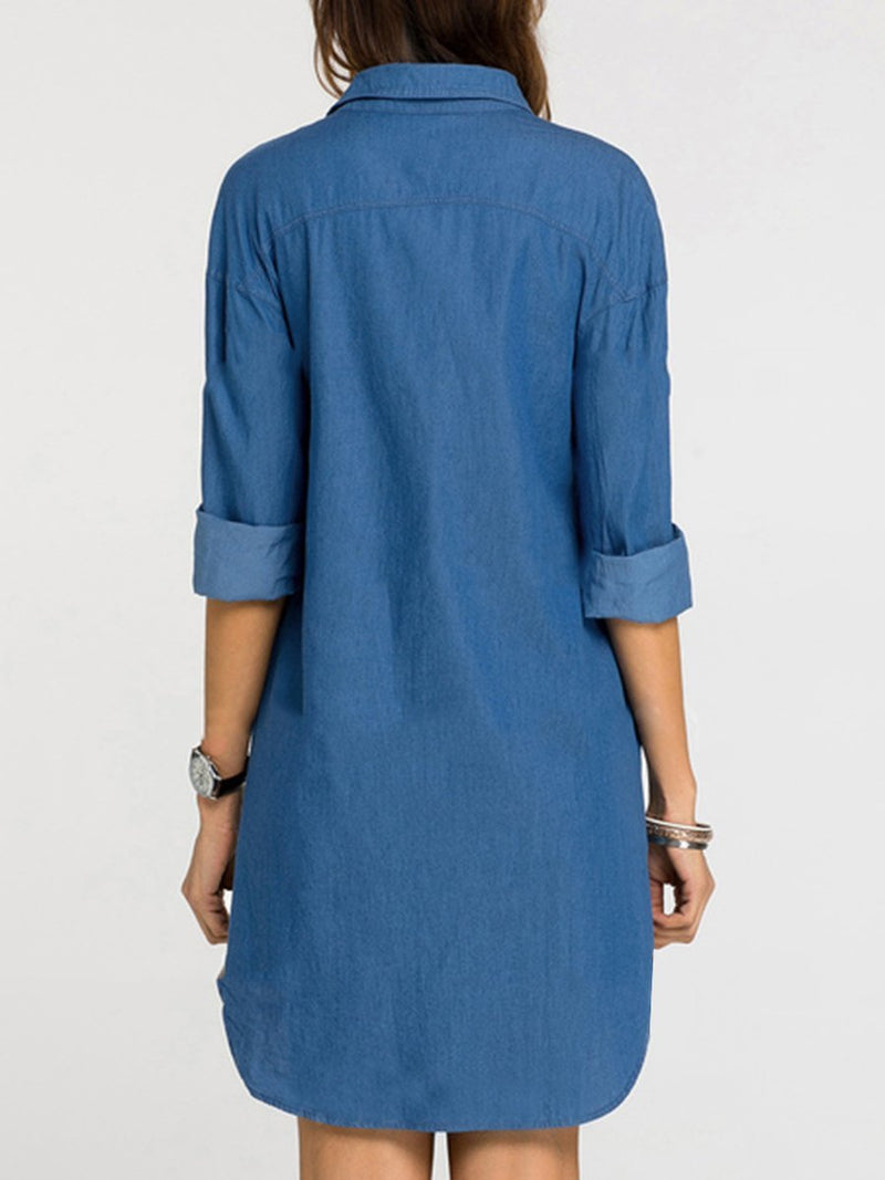 Turn Down Collar  Patch Pocket  Plain  Denim Shift Dress