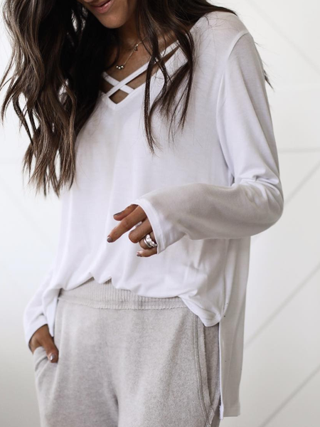 White V Neck Cotton Long Sleeve Shirts & Tops