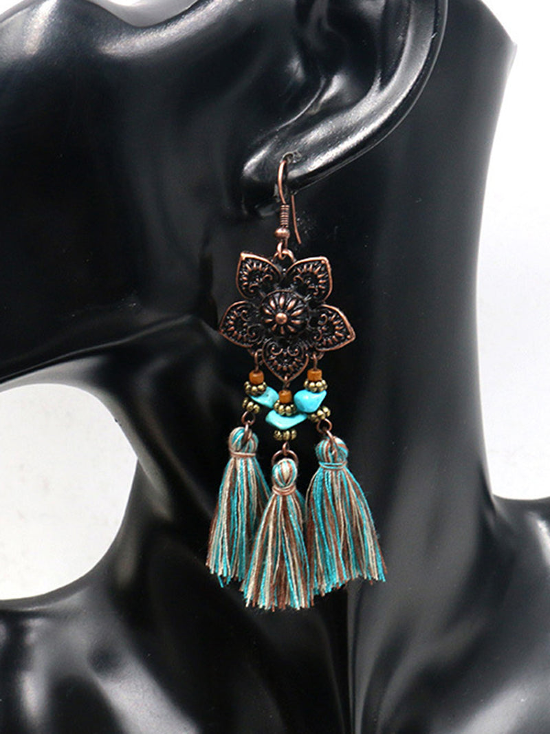 Women Alloy Pendant Tassel Hollow Earrings
