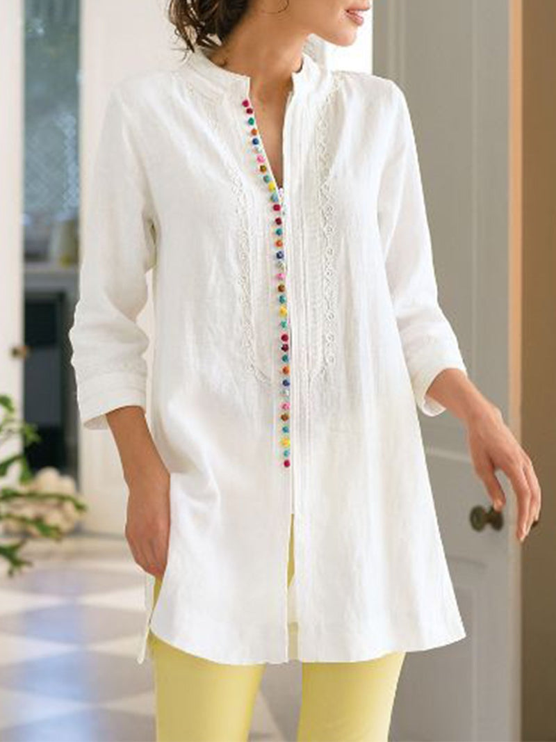 Ladies Linen Shirt Dress Fashion Long Sleeves Casual Dresses